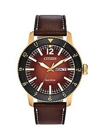 Citizen Brycen Goldtone Stainless Steel & Leather-