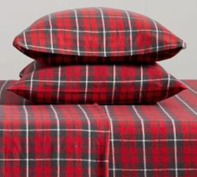Pottery Barn Palmer Plaid Organic Cotton Flannel P
