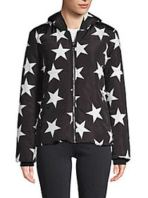 VIGOSS Star-Print Hooded Jacket BLACK WHITE
