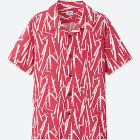 BOYS EASY CARE PRINTED SHORT-SLEEVE SHIRT, RED, me