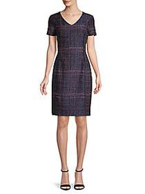 Oscar de la Renta Textured Silk-Blend Dress NAVY R