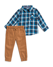 BEN SHERMAN Infant Boys 2 Piece Woven Top And Jogg