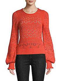 Chloé Fair Isle Cutout Cotton Sweater ORANGE