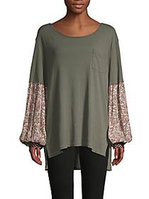Free People Floral-Sleeve Cotton-Blend Top ARMY SA