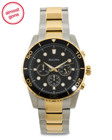 BULOVA Men's Chrono Sport Two Tone Bracelet Watch