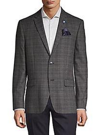 Ben Sherman Plaid Standard-Fit Coat DARK GREY