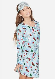 Justice Yeti For Presents Nightgown & Eyemask