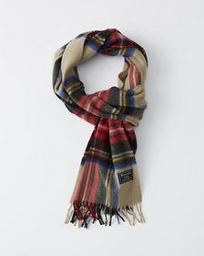 Woven Scarf, CREAM AND RED PLAID
