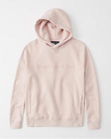 The A&F Logo Perfect Popover Hoodie, LIGHT PINK