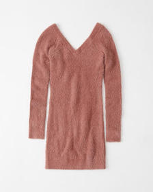 V-Back Sweater Dress, PINK