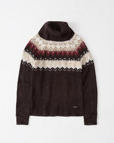 Fair Isle Turtleneck Sweater, GREY PATTERN