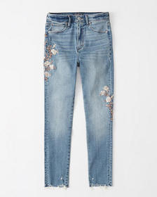 High Rise Super Skinny Ankle Jeans, EMBROIDERED ME