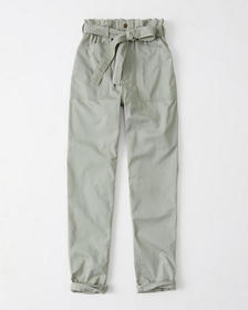 Belted Ultra High rise Utility Pants, OLIVE GREEN