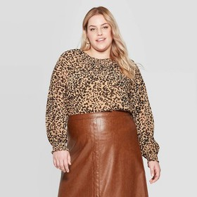 Women's Plus Size Leopard Print Long Sleeve Smocke