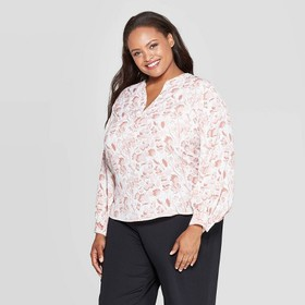 Women's Plus Size Floral Print Long Sleeve V-Neck