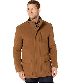 Cole Haan Wool Plush Coat with Faux Fur Inner Coll