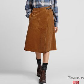 WOMEN CORDUROY WRAPPED SKIRT (JW ANDERSON), BROWN,