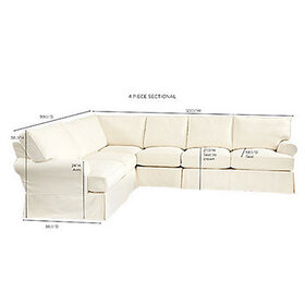 Davenport Slipcovered 4-Piece Sectional