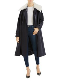 Theory - Cloak Coat with Shearling Trim