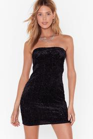 Nasty Gal Womens Black Cup and Away Velvet Mini Dr