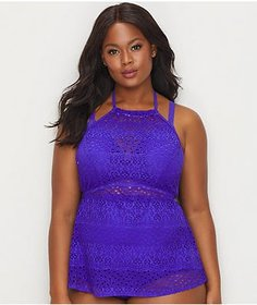 Elomi Plus Size Indie Crochet Wire-Free Tankini Co