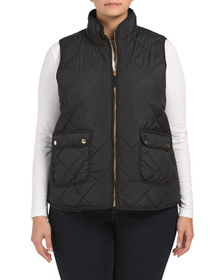 PHILOSOPHY Plus Quilted Vest With Patch Pockets