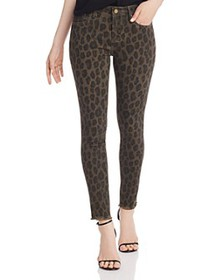 AQUA - Frayed Ankle Skinny Jeans in Leopard - 100%