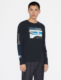 Armani LONG-SLEEVE GRAPHIC LOGO TEE