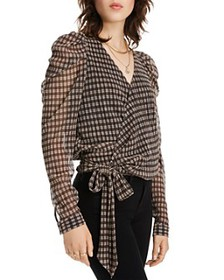 LINI - Grace Puff-Sleeve Plaid Wrap Top - 100% Exc