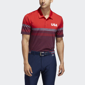 Adidas USA Golf Ultimate365 Stripe Polo Shirt