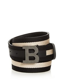 Bally - Men's B Buckle Leather & Canvas Reversible