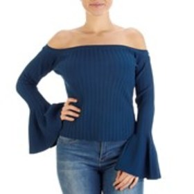BEBE Off the Shoulder Trumpet Sleeve Cropped Sweat