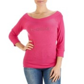 BEBE 3/4 Sleeve Crystal Logo Ribbed Knit Top