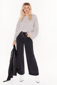 Nasty Gal Womens Grey Play Knit Cool Relaxed Sweat