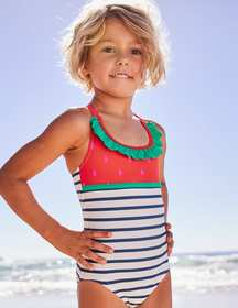 Boden Colourful Frill Swimsuit