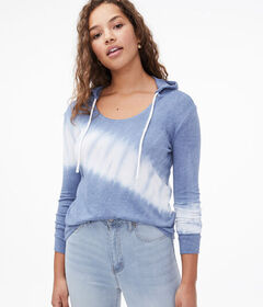 Aeropostale Long Sleeve Tie-Dye Hooded Tee