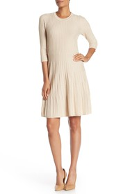 NANETTE nanette lepore Pleated Fit & Flare Sweater