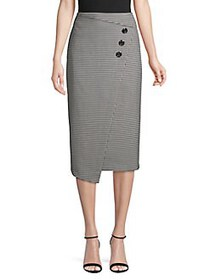 Vince Camuto High-Rise Houndstooth Button-Front Mi