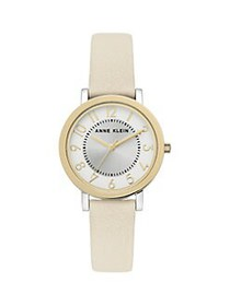 Anne Klein Two-Tone & Leather-Strap Watch GOLD