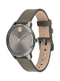 Movado BOLD Ionic-Plated Grey & Taupe Leather Stra