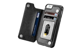 Leather Flip Wallet Card Holder Case Cover For App