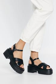Nasty Gal Womens Black Watch Your Step Faux Leathe