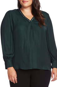 Vince Camuto Studded V-Neck Rumple Blouse (Plus Si