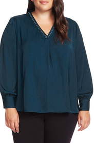 Vince Camuto Studded Satin Top (Plus Size)