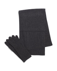 TAHARI Cashmere Cable Scarf And Solid Gloves Boxed