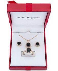3-Pc. Set Onyx & Diamond Accent Pendant Necklace,
