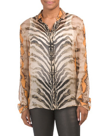JUST CAVALLI Made In Italy Silk Snake Print Blouse
