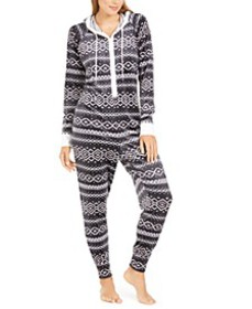 Hooded One Piece Printed Pajama, Created For Macy'