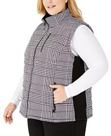 Plus Size Plaid Zip-Front Vest
