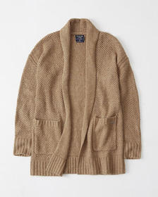 Shawl Open-Front Cardigan, CAMEL BROWN